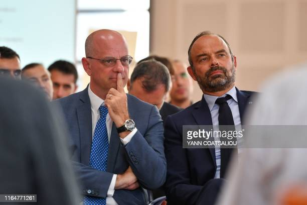 French Education and Youth Affairs Minister JeanMichel Blanquer and French Prime Minister Edouard Philippe attend a presentation of new teaching...