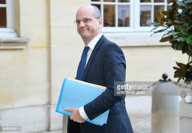 French Education Minister JeanMichel Blanquer arrives on April 19 2018 at the Hotel Matigon French Prime minister official residence in Paris for a...