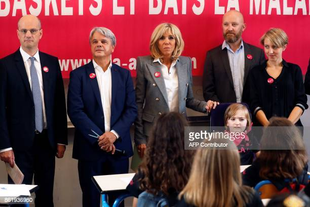 French Education Minister JeanMichel Blanquer founder and honorific president of the European Association against Leukodystrophy Guy Alba Brigitte...