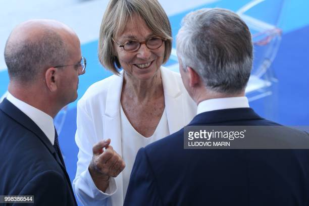 French Education Minister JeanMichel Blanquer French Culture Minister Francoise Nyssen and le French Economy Minister Bruno Le Maire speak ahead of...