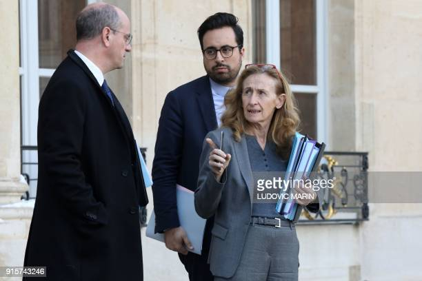 French Education Minister JeanMichel Blanquer French Junior Minister for the Digital Sector Mounir Mahjoubi and French Justice Minister Nicole...