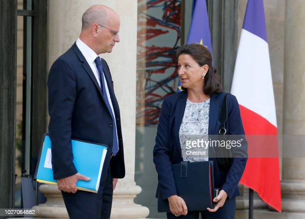 French Education Minister JeanMichel Blanquer Health and Solidarity Minister Agnes Buzyn leave following the weekly cabinet meeting and a government...