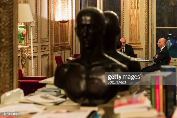 French Education minister JeanMichel Blanquer speaks with members of his staff at the ministry on January 18 2018 in Paris / AFP PHOTO / JOEL SAGET