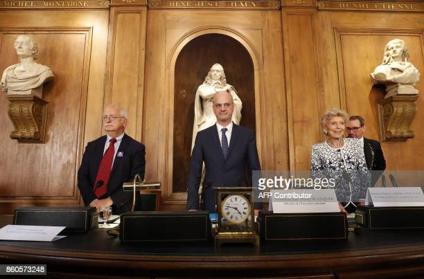 French Education Minister JeanMichel Blanquer together with Academie Francaise general secretary Helene Carrere d'Encausse and French writer and...