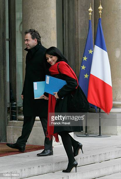 French Education Minister Luc Chatel arrives with newly appointed Youth and Associations Junior Minister Jeannette Bougrab to take part in the first...