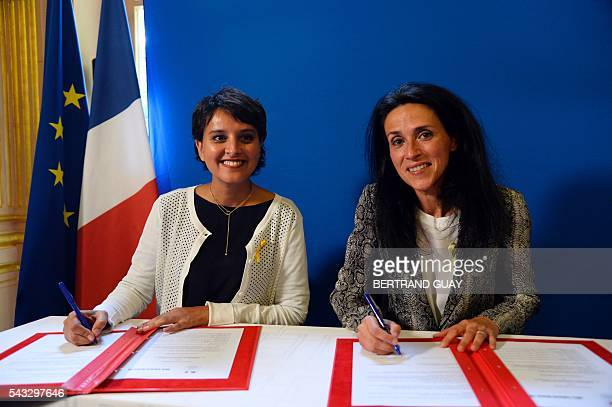 French Education minister Najat VallaudBelkacem and Dr Chrysoula Zacharopoulou sign the first partnership convention between the Ministry of National...