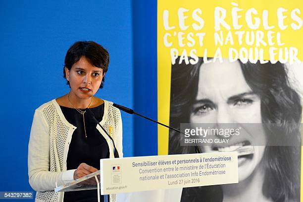 French Education minister Najat VallaudBelkacem delivers a speech during the first joint convention between the Ministry of National Education Higher...