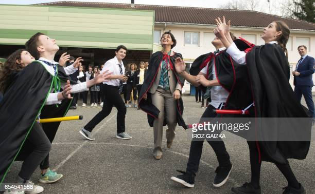 French Education Minister Najat VallaudBelkacem plays with pupils the game 'Quidditch' known from the film 'Harry Potter' at the Daniel Argote middle...