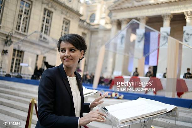 French Education Minister Najat VallaudBelkacem signs the golden book next to the coffins of four personalities French Resistants during World War II...