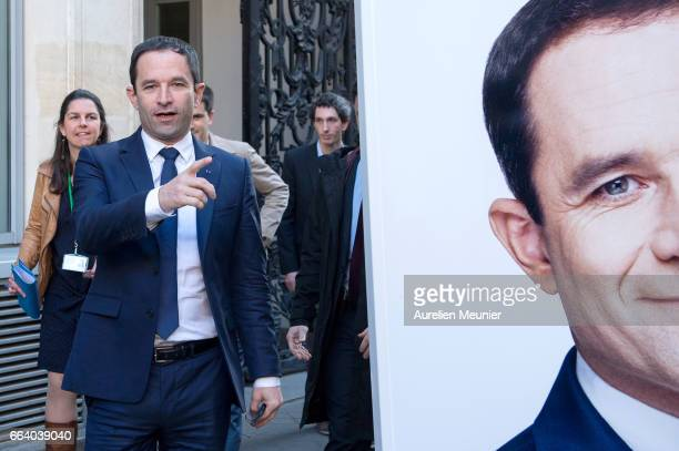 French election Socialist Candidate Benoit Hamon arrives to present to the press the launch of his Universal income caravan on April 3 2017 in Paris...