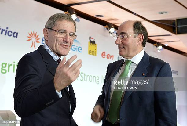 French electric utility group Engie CEO Gerard Mestrallet and President of Spanish energy group Iberdrola Ignacio Galan attend a press conference of...