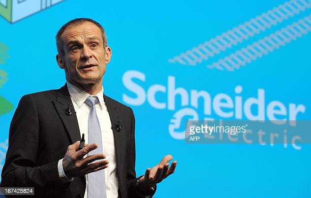 French electrical engineering giant Schneider Electric President and CEO JeanPascal Tricoire talks during the group's shareholders meeting in Paris...