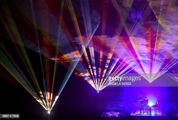 French electronic musician JeanMichel Jarre performs at Radio City Music Hall as part of his firstever tour of North America on May 20 2017 in New...