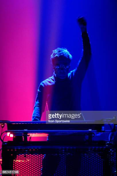 French electronic musician JeanMichel Jarre performs during the first stop of his firstever North American tour on May 9 at Sony Centre for...