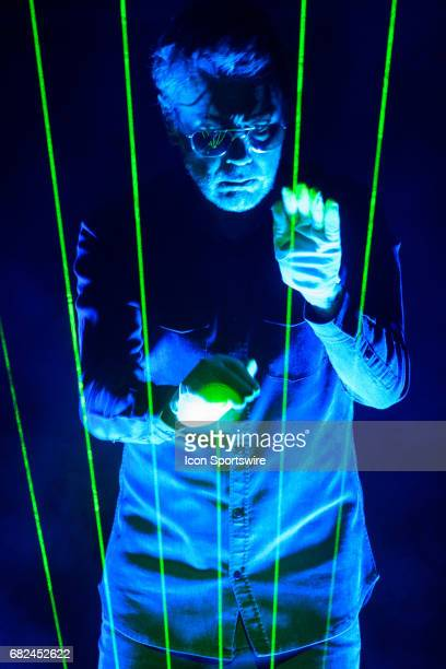 French electronic musician JeanMichel Jarre plays the laser harp during the first stop of his firstever North American tour on May 9 at Sony Centre...