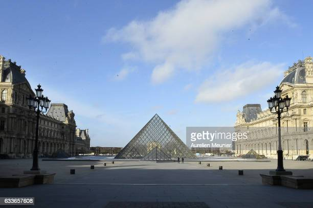 French Elite police officers stand in front of the Pyramide du Louvre on February 3 2017 in Paris France A French soldier opened fire on a man who...