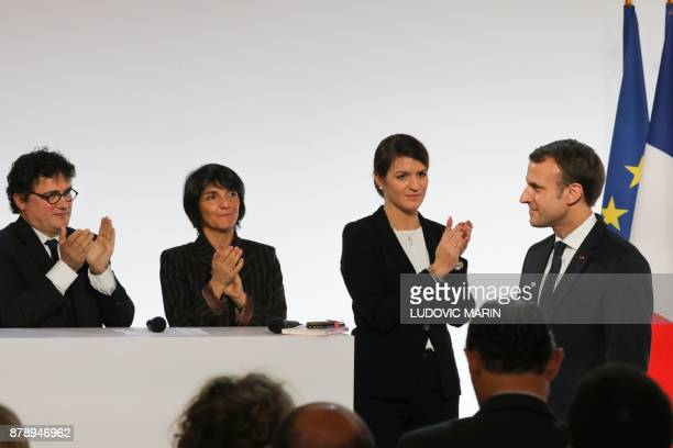 French emergency doctor and writer Patrick Pelloux French humorist and patron of the association 'Women Safe' Florence Foresti and French Junior...