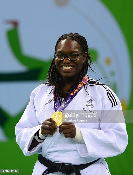 French Emilie Andeol poses with gold medal in Woman's 78kg Judo during Baku 2015 European Games at Heydar Aliyev Arena in Baku Azerbaijan on June 27...