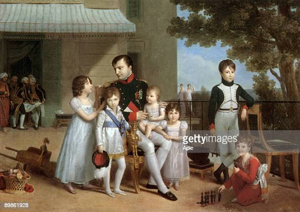 French emperor Napoleon 1st in saint Cloud with his nephews and nieces c 1809 2 daughters and 2 sons of Joachim Murat and Caroline Bonaparte with 2...