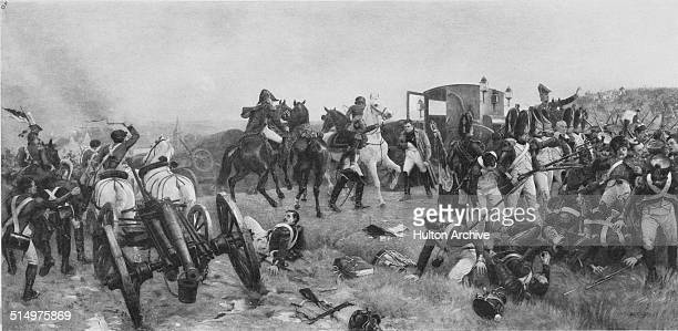 French Emperor Napoleon Bonaparte flees the pursuing allied troops after he is defeated at the Battle of Waterloo during the Napoleonic War of the...
