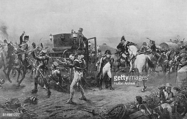 French Emperor Napoleon Bonaparte flees the pursuing Prussian troops as his carriage is captured at Genappe after he is defeated at the Battle of...
