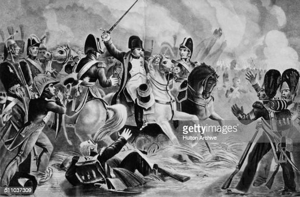 French Emperor Napoleon Bonaparte tries to lead the final assault by his Imperial Guard at the Battle of Waterloo during the Napoleonic War of the...