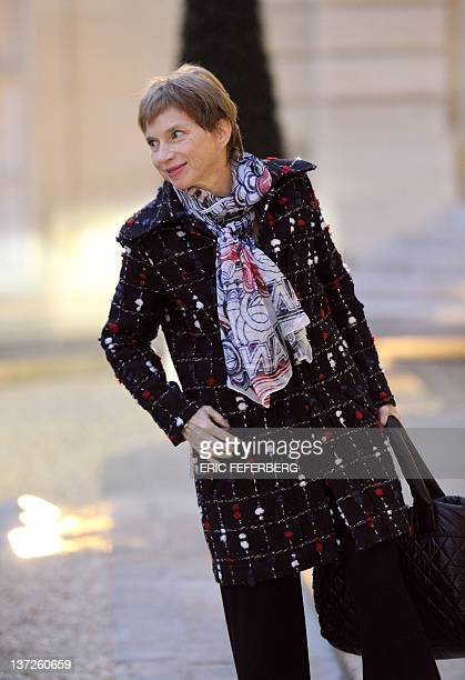 French employers association Medef head Laurence Parisot arrives at the Elysee Palace in Paris on January 18 2012 before a summit between French...
