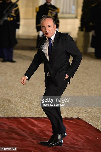 French employers association Medef head Pierre Gattaz arrives at the Elysee Palace for an official dinner hosted by French President Francois...