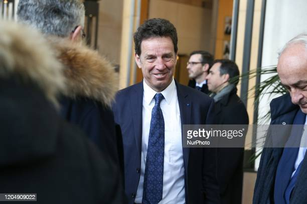 French employers' association Medef President Geoffroy Roux de Bezieux arrives to attend a meeting about the economic impact of the Coronavirus...