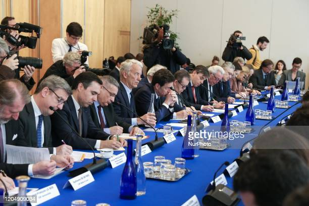 French employers' association Medef President Geoffroy Roux de Bezieux attends a meeting about the economic impact of the Coronavirus Covid19...