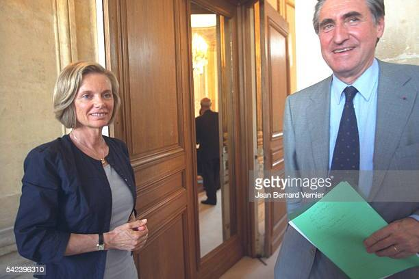 French Employment Minister Elisabeth Guigou meets Ernest Antoine Seilliere President of the MEDEF