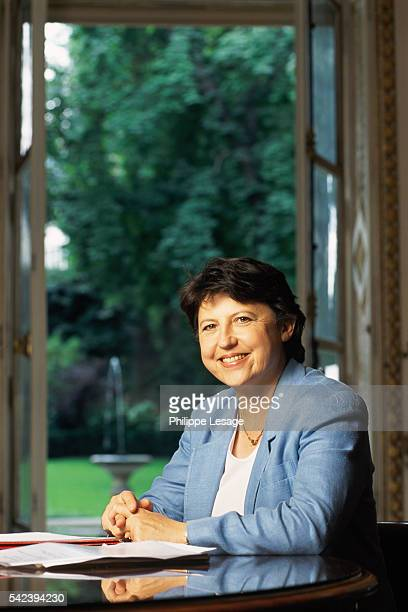 French Employment Minister Martine Aubry in her ministerial office