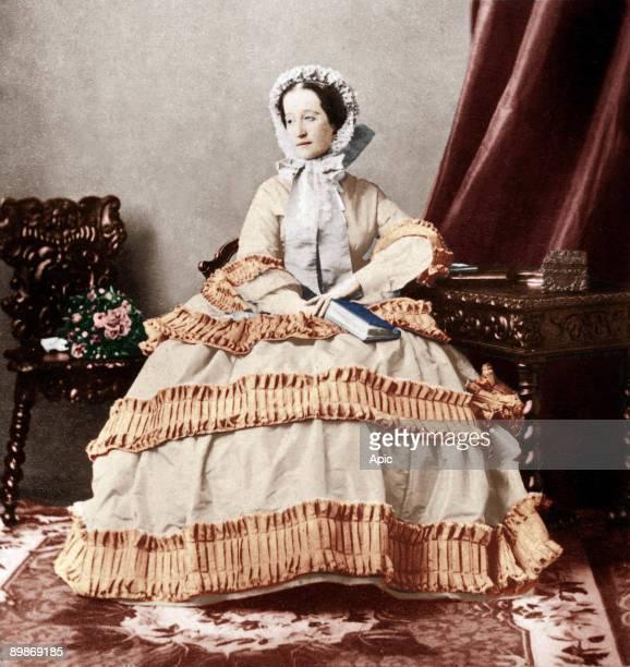 French empress Eugenia wife of NapoleonIII colorized document