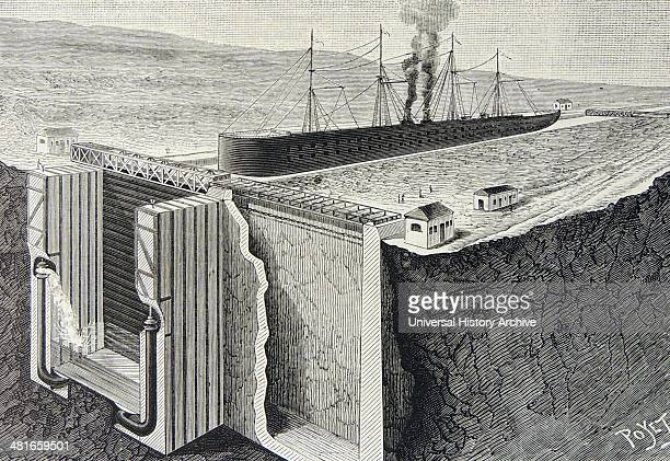 French engineer Gustave Eiffel's design for rolling gates on the Panama Canal Designed for the failed De Lesseps attempt of 1880c1890 and not used...