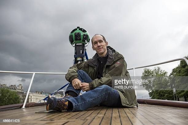 French engineer Luc Vincent in charge of all the imagery in Google's online maps poses next to his custommade panoramic camera which has made...