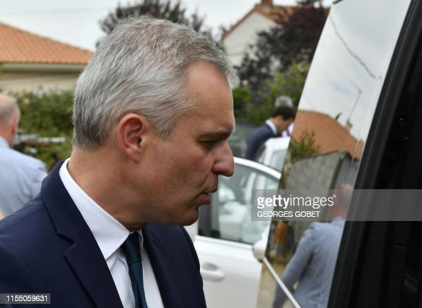 French Environment Minister Francois de Rugy visits a farm operation as part of his trip to Niort on the theme of water management on July 11 2019