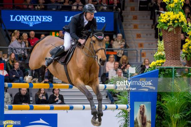 French equestrian Aldrick Cheronnet on Tanael des Bonnes places fifth in the FEI Longines World Cup jumping during the Gothenburg Horse Show in...