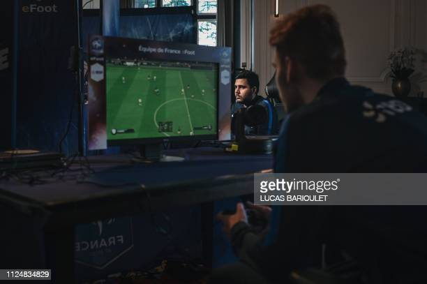 """French E-sport pro gamer Dylan Gozuaclk """"Dylo"""" competes during the French national efoot selection 2019, designating the 6 best French FIFA players,..."""