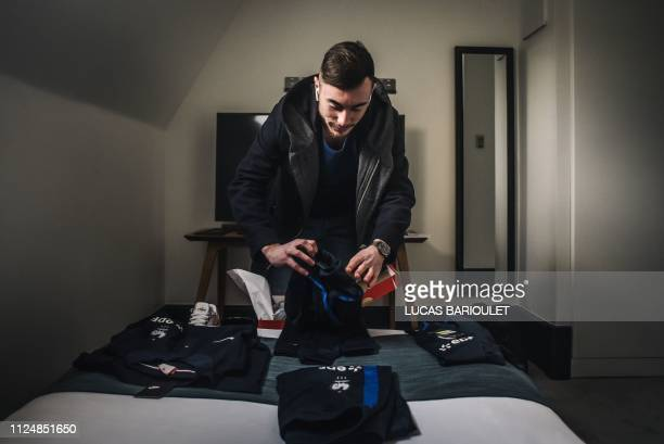 French Esport pro gamer Florian Maridat RayZiaah arrives in his room during the French national efoot selection 2019 designating the 6 best French...