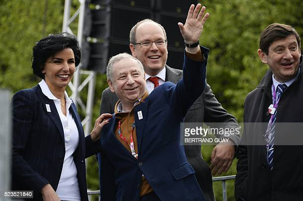 French European member of Parliament Rachida Dati FIA President Jean Todt and Prince Albert of Monaco and French minister for Cities Youth and Sport...