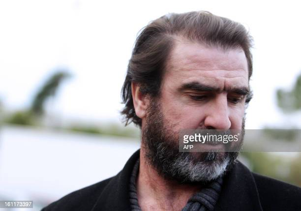 French exfootball player Eric Cantona arrives at the Show Beach Soccer Celebrities' Tournament on February 9 2013 in Monaco The event gathers...