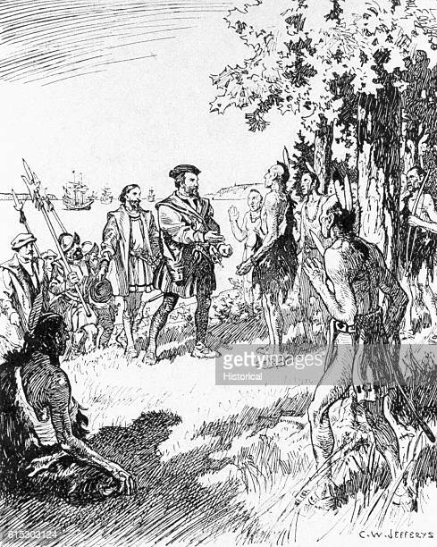 French explorer Jacques Cartier was the first European to explore the Saint Lawrence River. He is pictured meeting the Indians of the area in 1535.