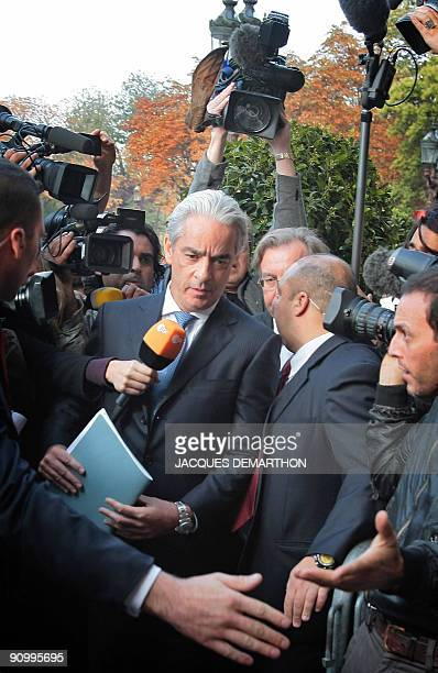 French F1 team Renault barrister Ali Malek QC answers journalists as he arrives at FIA headquarters in Paris on September 21 2009 for an hearing at...