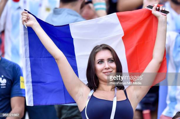 French fan during the 2018 FIFA World Cup Russia Round of 16 match between France and Argentina at Kazan Arena on June 30 2018 in Kazan Russia