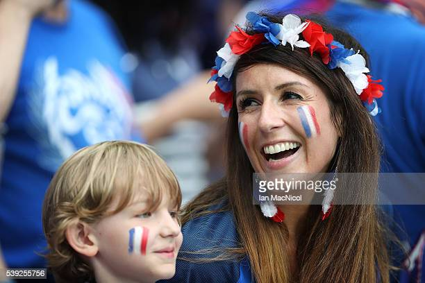 French fan looks on during the opening ceremony during the UEFA EURO 2016 Group A match between France and Romania at Stade de France on June 10 2016...