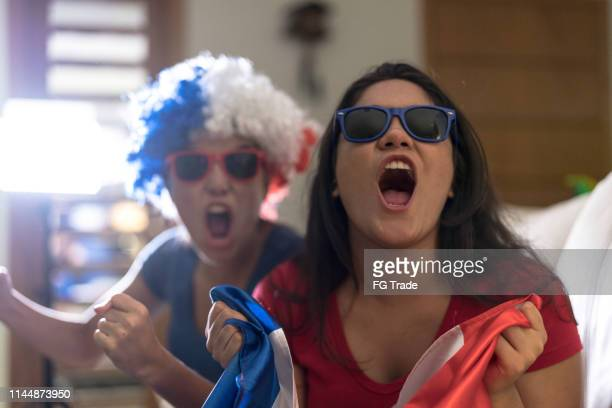 french fan watching sports and celebrating at home - marcar golo imagens e fotografias de stock