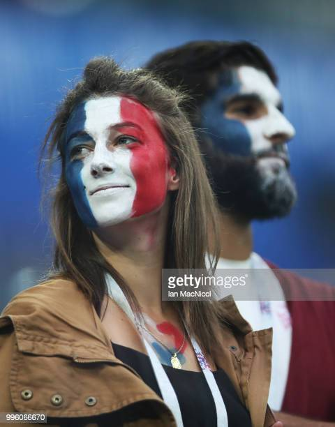French fans are seen during the 2018 FIFA World Cup Russia Semi Final match between Belgium and France at Saint Petersburg Stadium on July 10 2018 in...