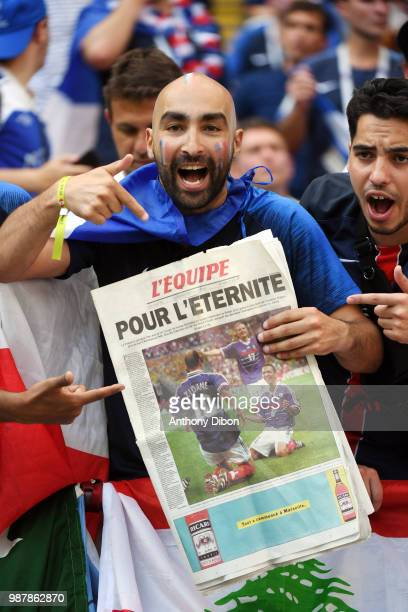French fans during the FIFA World Cup Round of 16 match between France and Argentina at Kazan Arena on June 30 2018 in Kazan Russia