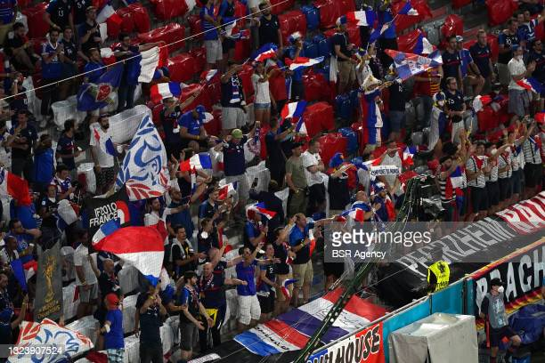 French fans during the UEFA Euro 2020 match between France and Germany at Allianz Arena on June 15, 2021 in Munich, Germany