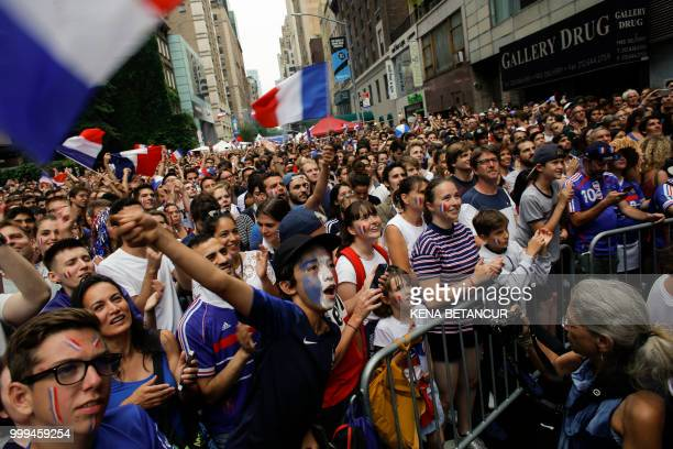 French fans gather as they watch the World Cup final match between France vs Croatia on July 15 2018 in New York The World Cup final between France...